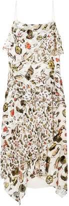 Jason Wu Grey Ruffled Floral-print Devore Silk-blend Midi Dress