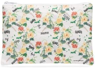 Private Label white floral print pouch