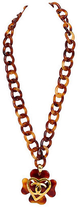 One Kings Lane Vintage Chanel Extra-Long Faux-Tortoise Necklace - Vintage Lux