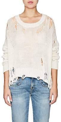 R 13 Women's Shredded Cotton-Blend Crewneck Sweater