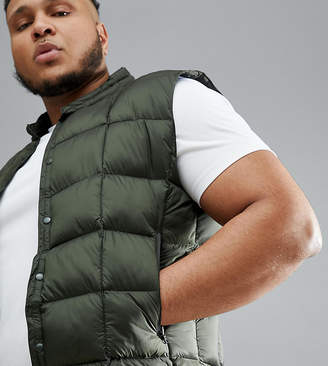 Asos 4505 Plus packable vest with quilting in khaki