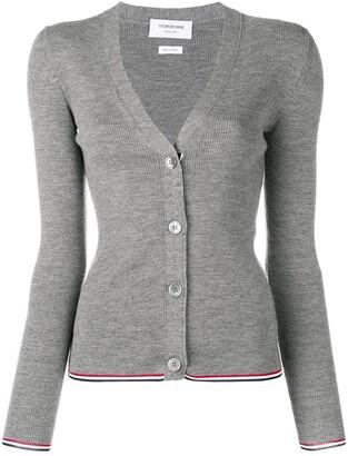 Thom Browne Merino Wool Grey Cardigan
