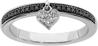 Black Diamond Simply Stacks Sterling Heart Dangle Ring