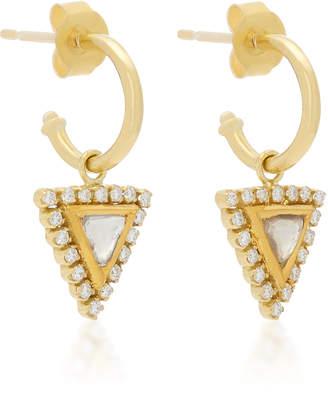 Amrapali Kundan 18K Gold Triangle Hoop Earrings