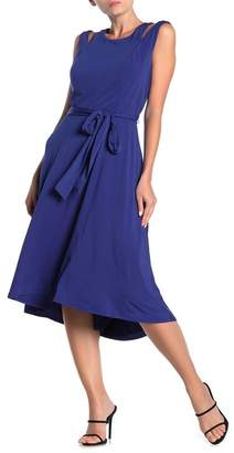 ECI Cold Shoulder High/Low Midi Dress