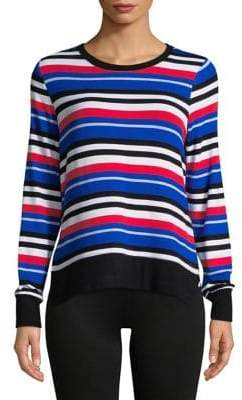 Andrew Marc Performance Multicolored Stripe Hi-Lo Pullover
