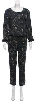 Halston Animal Print Long-Sleeve Silk Jumpsuit