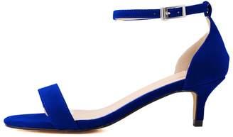 BEIGE CAMSSOO Women's Open Toe Kitten Heel Ankle Strap Buckle Pumps Sandals Blue Velveteen 10 US M