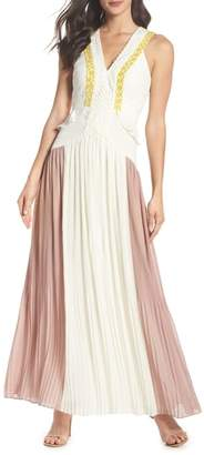 Harlyn Colorblock Pleated Gown