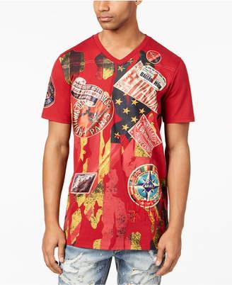 Heritage America Men's V-neck Patch T-Shirt