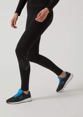 Emporio Armani Ea7 Leggings In Stretch Jersey With Studded Logo
