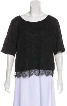 Robert Rodriguez Lace-Trimmed Short Sleeve Top
