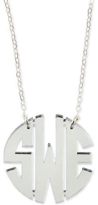Moon and Lola Mirrored Acrylic Monogram Pendant Necklace