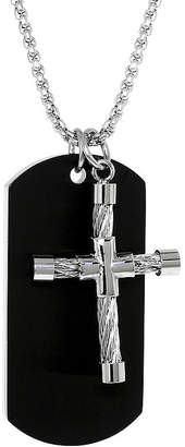 JCPenney FINE JEWELRY Mens Stainless Steel Cable Cross & Black IP Dog Tag Pendant Necklace
