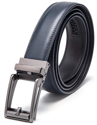 "Km Legend Men's Leather Automatic Buckle Ratchet Dress Belt for Men Perfect Fit Waist Size Up to 46""-Functional, Stylish and Durable"