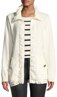 Pure & Co. Jasmine Ruffled-Trim Zip-Front Cardigan, Petite