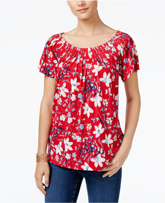 Style & Co. Printed Pleat-Neck Top, Only at Macy's $19.98 thestylecure.com