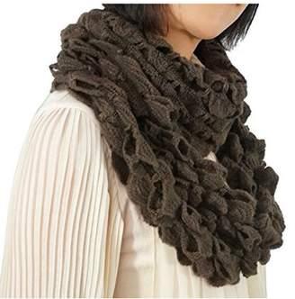 Nice & Great Ruffle Loop Scarf Soft Infinity Warm Winter Circle Scarf Lady Stretchy Knitted Loop Scarf Women Fashion Elegant Neck Warmer, Brown