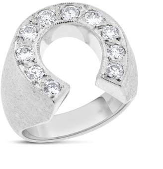 14k White Gold Matte Finish 1.02 Ct. Natural Diamond Horseshoe Luck Mens Ring Size 8.75