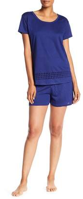Catherine Malandrino Burnout Short Sleeve & Solid Shorts Pajama 2-Piece Set