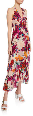MISA Los Angeles Melany Floral-Print Halter Wrap Dress