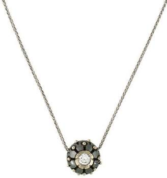 14K Diamond & Carved Pearl Ball Pendant Necklace