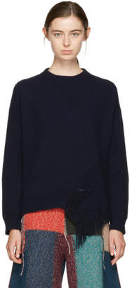 Stella McCartney Navy Fringed Crewneck Sweater