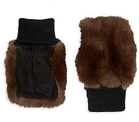 Glamour Puss Glamourpuss Women's Rabbit Fur & Suede Knit Fingerless Mittens