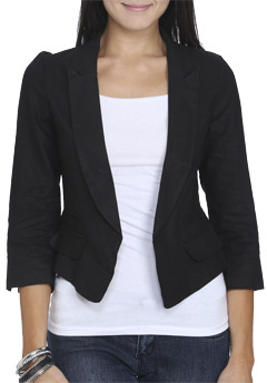 Wet Seal WetSeal Ruched Sleeve High-Low Blazer Black