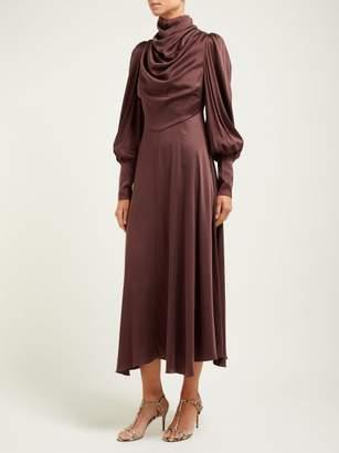 Zimmermann Draped Silk Blend Satin Midi Dress - Womens - Brown