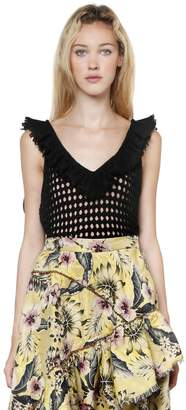 Philosophy di Lorenzo Serafini Ruffled Cotton Open Knit Crop Top