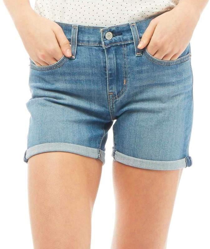 Damen Mid Length Denim Shorts Mittelblau