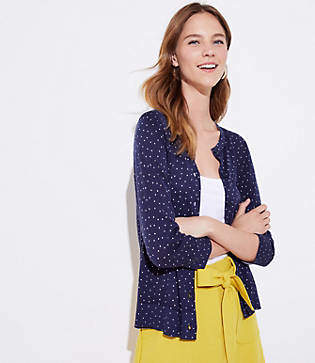 LOFT Dotted 3/4 Sleeve Signature Cardigan