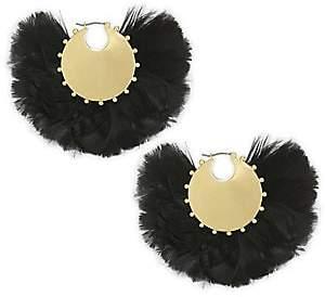 Kate Spade Feather& 14K Goldplated Hoop Earrings
