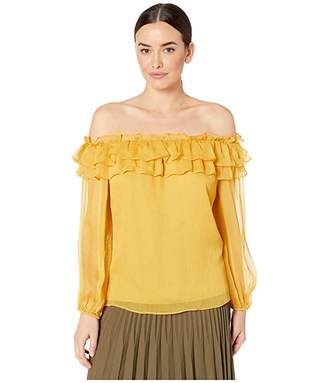 Vince Camuto Long Sleeve Ruffled Off Shoulder Yoryu Blouse
