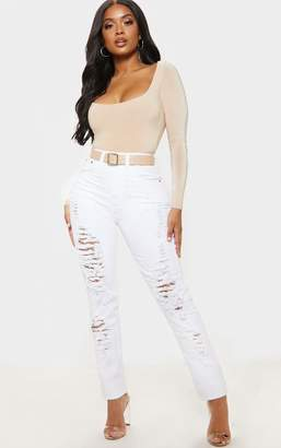 PrettyLittleThing Shape White Extreme Rip Skinny Jeans