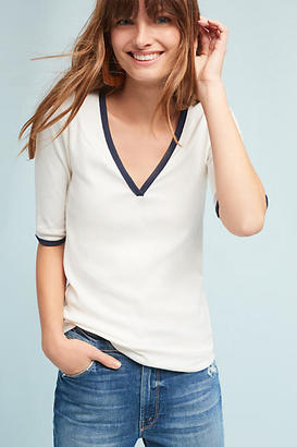 Anthropologie Brea V-Neck Ringer Tee $38 thestylecure.com