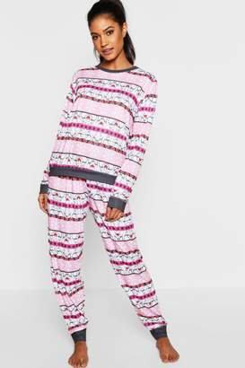 boohoo Snowflake & Bear Fairisle Long Sleeve PJs