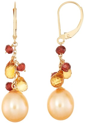 14k Gold Gemstone Briolette & Dyed Freshwater Cultured Pearl Drop Earrings