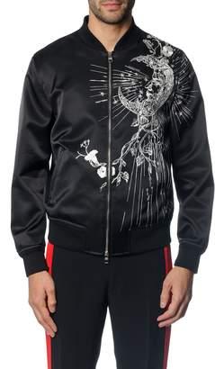 Alexander McQueen Flower & Moon Satin Bomber Jacket