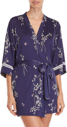 In Bloom Floral Jersey Short Robe