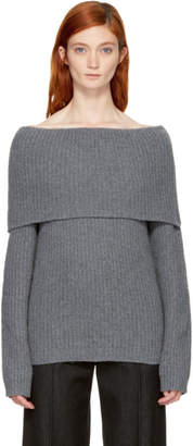 MSGM Grey Off-the-Shoulder Sweater