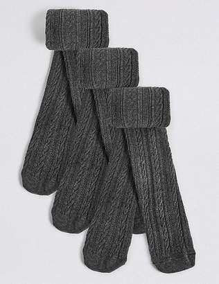 Marks and Spencer 3 Pairs of Cable Knit Tights (4-14 Years)
