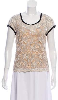 Gryphon Short Sleeve Lace Top silver Short Sleeve Lace Top