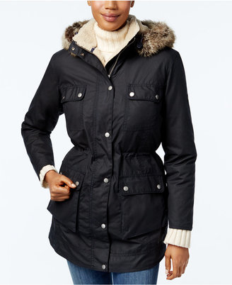 Barbour Carribena Wax Faux-Fur Hooded Parka $479 thestylecure.com