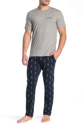 Lucky Brand Short Sleeve Jersey Tee & Sleepwear Jersey Pants Gift Set