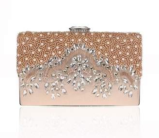 XON Pearl Beaded Evening Bag Handbag Pure Clutch Retro Deign Graceful Women