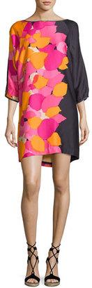 Trina Turk Floral 3/4-Sleeve Shift Dress, Dark Purple $328 thestylecure.com