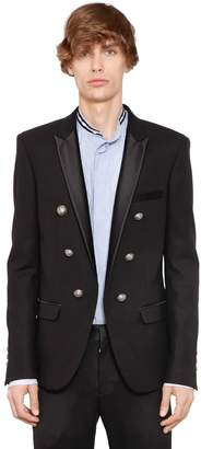 Balmain 6 Button Wool Jacket W/ Satin Lapels