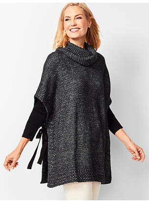 Talbots Peachy Blend Basket Stitch Border Poncho